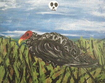 Painting of a Turkey Vulture in Acrylic on 8 x 10 Inch Canvas