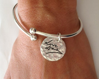 Memorial Jewelry Bracelet - Your Loved Ones Actual Writing - Sterling Silver Charm Cuff with Removable Threaded Ball End Made to order