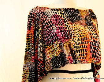 Plus Size Shrug Crop Top Bolero Coverup Fits sizes (14 -24) Animal Print Pink and Yellow Multi