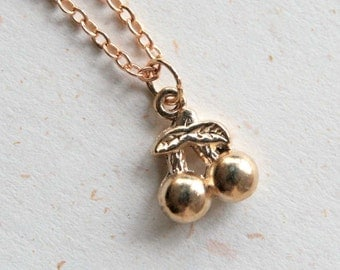 Tiny Cherry Necklace (N357) in rose gold color