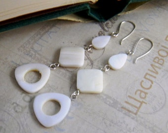 Long White Dangle Earrings for Summer Mother of Pearl Earrings White Pearly Extra Long Earrings Womens Fashion Jewelry