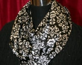 Black and White classic abstract floral print soft satin infinity scarf
