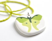 ceramic pendant and beaded necklace- luna moth in green hues