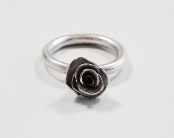 sterling silver wedding bridal rose ring