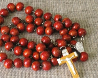 Rosary , Religious Necklace , Wooden Rosary , Prayer Beads , Religious Jewelry , Religious , Wood , Vintage Religion , Wooden Beads