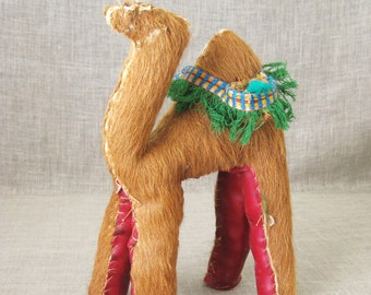 Vintage Camel, Hide Camel, Toy Camel, Camel Figure, Souvenir, Desert Animal, Caravan Animal, Folk Art, Handmade, Primitive Toy, Toys