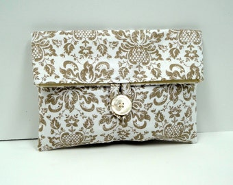 READY TO SHIP // Neutral Bridesmaid Clutch Ivory and Tan Damask Makeup Bag