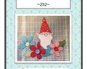 Garden Gnome Applique Packaged Pattern for Tea Towel