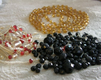 Vintage lot of beaded jewelry for re-purpose or repair - 1920's to 1950's