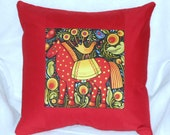 Quilted Pillow Cover -- Folk Art Horse and Bird with Rust Borders