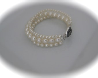 Bridal Pearl Bracelet Ivory wedding jewelry Swarovski pearl with Sterling silver and marcasite clasp