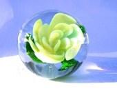 Hand Blown Rose Glass Paperweight