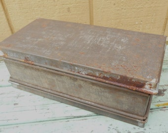Vintage Tin Loaf Box Mold With Lids