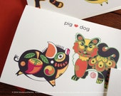 Valentines Day, Love Card, Zodiac Animals-Horse,Rat,Ox,Snake,Dragon,Dog,Pig,Tiger,Rooster,Monkey,Goat