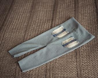 PRESTON. Light Gray. Boy Pants. Plaid Pockets. Stretch. Knit. Baby. Infant. Photo Prop. Newborn. Tolola Designs
