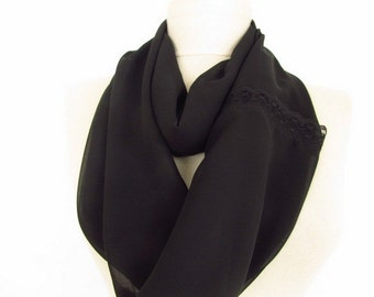black scarf - chiffon scarf - Infinity scarf - Circle Infinity Scarves-asuhan-Loop Scarf-