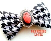 My Heart Beats For You Houndstooth Fabric Hair Bow