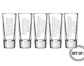 5 PERSONALIZED SHOT GLASSES Groomsmen Favor Gifts Wedding Party Gift Engraved Shot Glasses Groomsman Best Man Gift Glasses Etched Shot Glass