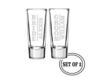 2 SHOT GLASSES PERSONALIZED Bride and Groom Wedding Gift (Pair) Engraved Shot Glasses Etched Wedding Shot Glasses Bride & Groom Shooter