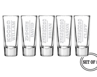 5 PERSONALIZED SHOT GLASSES Groomsmen Favor Gifts Wedding Party Gift Engraved Shot Glasses Groomsman Best Man Gift Glasses Etched Shot Glass