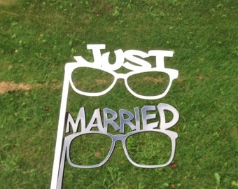 Thick Acrylic PHOTO BOOTH PROPS Just Married Glasses Strong and Durable Acrylic Wedding Photo Booth Props Bride and Groom Glasses
