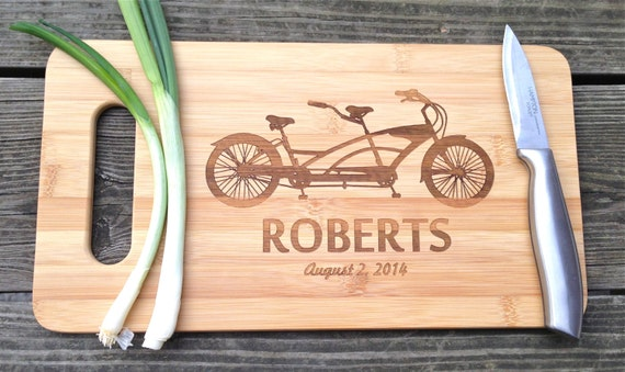 Bicycle Bamboo Cutting Board - Engraved Personalized Cutting Board 14 X 7.5  Bicycle Wedding Gift Anniversary Gift Valentines Gift Bamboo