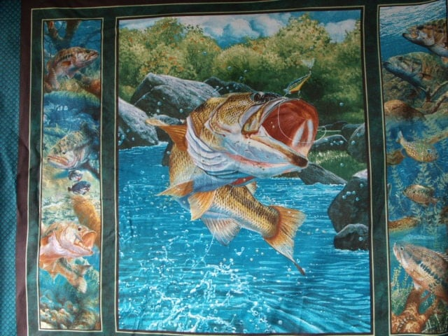 Bass fish trout water fishing quilt panel fabric free for Fish fabric for quilting