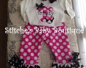 Custom Girls Chevron Minnie Mouse Inspired Birthday Ruffle Pant Or Capri Outfit SET Boutique