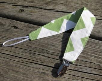 Universal Pacifier Clip - Green and White Medium Chevron - Riley Blake