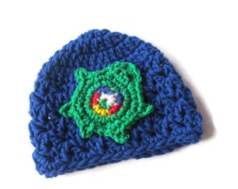 Baby Crochet Hat with Turtle , Blue Infant Cap with Green Turtle, Newborn Baby Beanie, Photo Prop