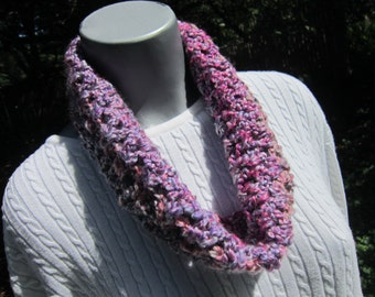 Crochet Infinity Cowl, Soft Chunky Gray and Pink Textured Scarf by Crocheted by Charlene, Small Neckwarmer, Valentine's Day Accessory