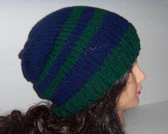 Blue and Green Knit Beanie Slouch Hat, Striped Hat, Made To Order