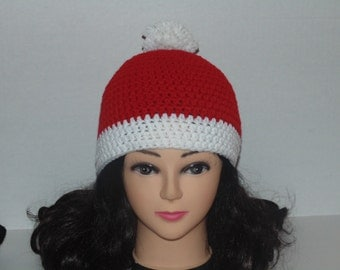 Crochet Beanie Hat, Red and White Beanie Hat, Costume Hat, Pom Pom White and Red Beanie