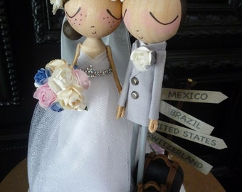 Wedding Cake Topper with Custom Wedding Dress and Travel Theme - Custom Keepsake by MilkTea