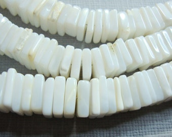 """White Agate Smooth Hand Polished Square Heishi Beads, 16"""" strand, 7 mm"""