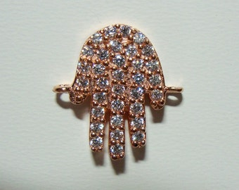 Hamsa Hand, Rose Gold Sterling Silver Hamsa Hand Link Connector with 34 AAA CZ Diamonds, 20% off sale