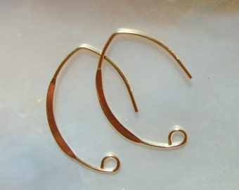 14k Gold Filled V Shape Hammered Earwire, Leaf shape Sexy Ear Wires 3 pairs, 26x17mm, 20 gauge wire - EW-0029