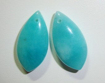 Peru Amazonite Smooth Marquise Drops Briolette, Top Drilled, Front to Back Drilled, one pair, 10x20x7mm, AAA Quality - Designer Pieces