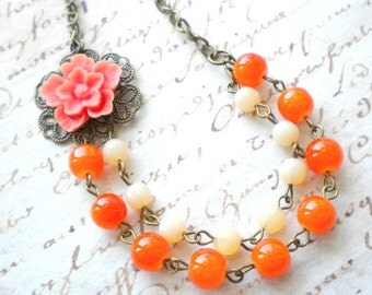 Orange Necklace Orange Wedding Jewelry Flower Bridesmaid Necklace Beadwork Necklace Maid Of Honor Gift Orange Bib Bridesmaid Necklace