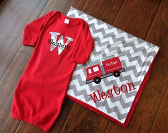 Personalized Baby Set- Infant Gown Set- Minky Baby Blanket- Chevron Blanket- Applique Baby Blanket Set- Baby Layette Set