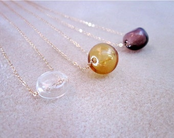Glass & Gold Necklace -- Single Bead Necklace -- Blown Glass Necklace -- Minimalist Glass Necklace -- Glass Bubble Necklace --Glass Necklace