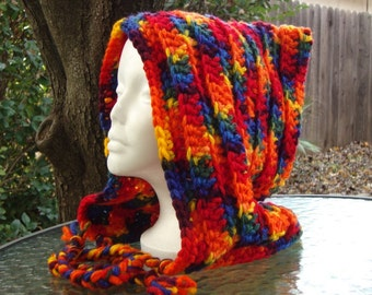 Handmade Crochet Long Hood Pattern Bernat Softee Chunky