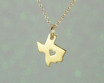 Texas State Charm Necklace-Cutout Heart in the Center-Matte Gold-Free Us Shipping