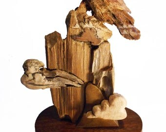 Hawk Cloud Original Rick Cain Wood Hawk Sculpture 2014