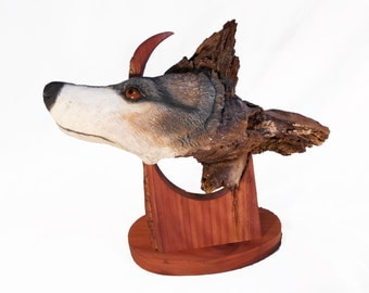 Wolf Rise Original Rick Cain Wood Carving Sculpture 2014