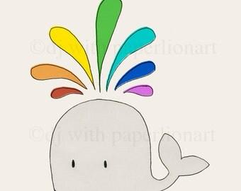 Whale Spouting Rainbow Print 12x12