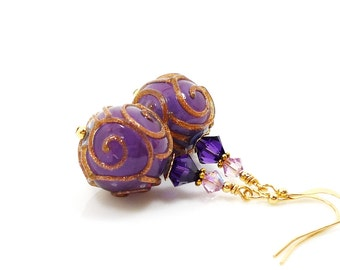 Purple Earrings, Lampwork Earrings, Unique Earrings, Glass Earrings, Glass Bead Earrings, Gold Filled Earrings, Beadwork Earrings