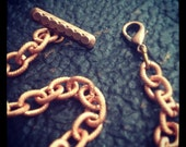 Mens Dieselpunk Steampunk Pocket Watch Chain in Vintage Copper