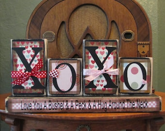 Valentines Day Decor - XOXO-Love You A Bushel and A Peck and Hug Around The Neck Valentine and Love Sign