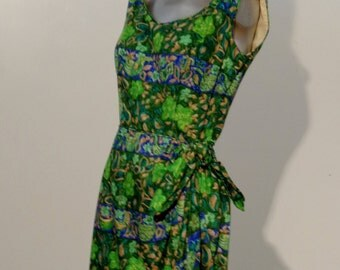 Vintage 1940s 50s Green and Blue Floral Print Sarong Wrap Dress by Sydney Rapport